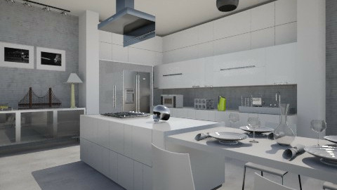 Concrete white kitchen - Kitchen  - by neta1