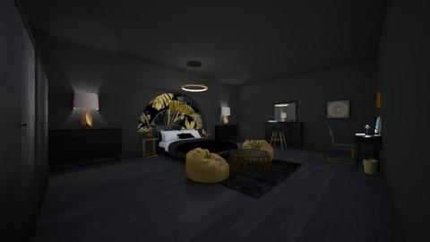 black and gold - Bedroom  - by shahadthani