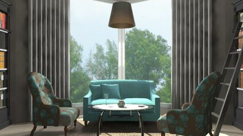 Gray and aqua library - Eclectic - Living room  - by alleypea
