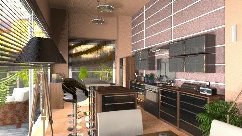 Modern dark wood kitchen - Kitchen  - by KittiFarkas