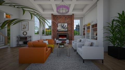 LV white and orange - Living room  - by sarasepideh