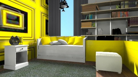 Bedroom Black and Yellow - Minimal - by mpy1999