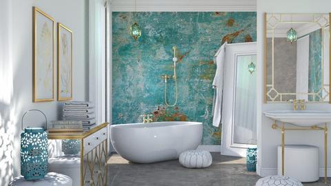 Turquoise Metal Bathroom - Bathroom - by ArtHousedeco