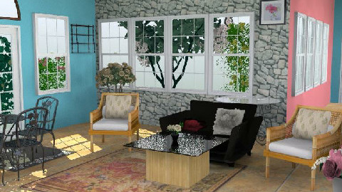 Garden Inspired Room View2 - Rustic - Living room  - by NadhiyQing