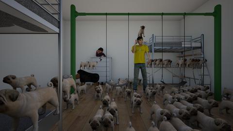 attack of the pugs - Retro - Kids room  - by lolaosborne