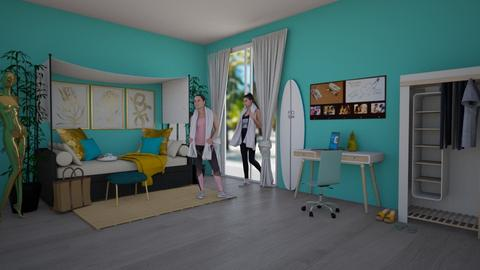 beach turquoise bedroom - by daisy_belle