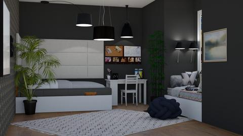 Student dorm_black - Modern - Bedroom  - by Pheebs09