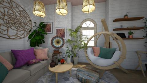 boho living room - by ghayamoh