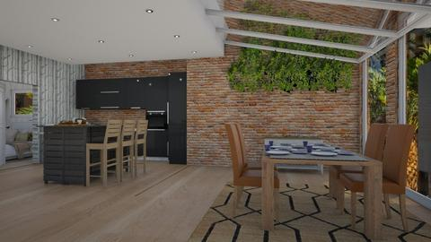 Brick on glass aparment - Modern - Dining room  - by Pheebs09