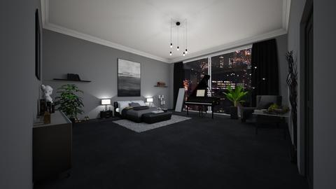 black bedroom - Bedroom  - by Lina_19