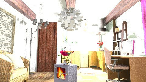 Single Apartment - Rustic - Living room - by Rebeikath