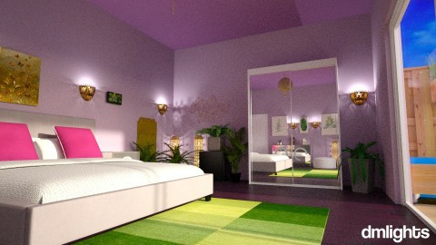 Purple and Green bedroomr - by Perta