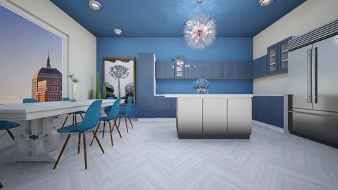 White and Blue Kitchen - Modern - Kitchen  - by Agamanta