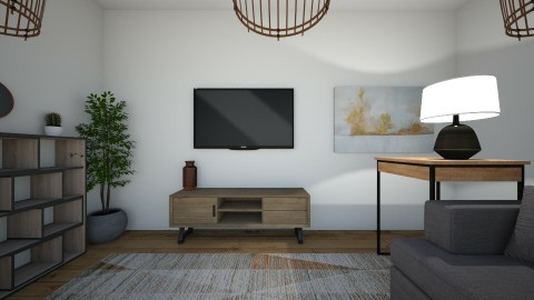 Orange and Gray - Living room  - by 21shelbrin