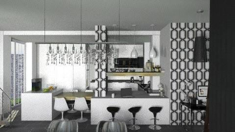 WhiteKitchenLiving - Modern - Kitchen  - by StienAerts