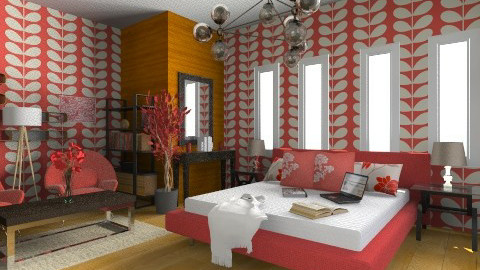 Living in Red bedroom - Retro - Bedroom  - by chloelaine battad