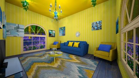 Blue and yellow  - Living room  - by Bezuglyfamily
