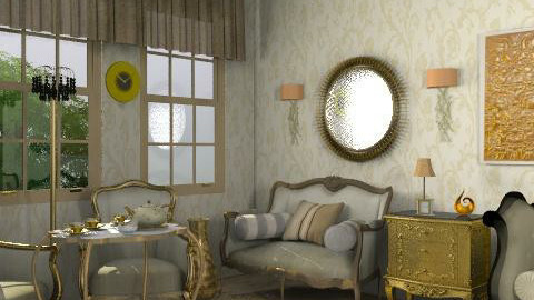 Gold room_new - Rustic - Living room  - by milyca8