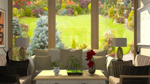 Brown Living with a garden view. - Classic - Living room - by Azmi_Ar
