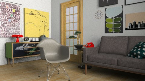 Mid Modern Living (2nd Angle) - Retro - Living room  - by AleksRossi
