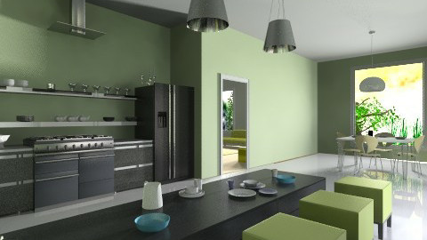 one kichen_ living room - Minimal - Kitchen  - by Designerloft