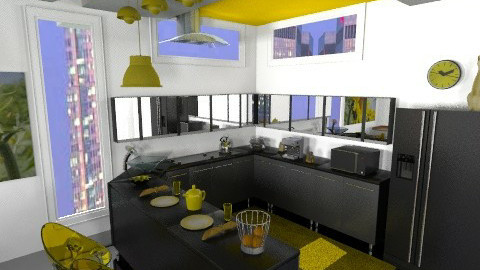 Yellow kitchen - Retro - Kitchen  - by annabeth