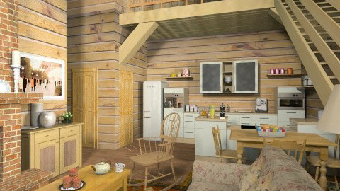 Quebec Log House - Rustic - Living room  - by krgee