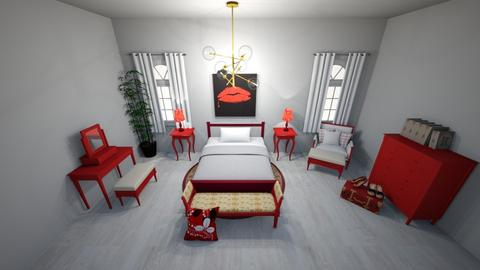 Red Bedroom - Bedroom  - by Amina3B