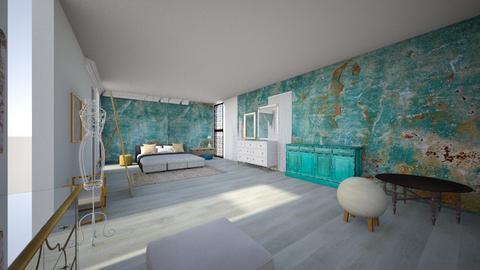 turquoise mirror bedroom  - Vintage - Bedroom  - by aschaper