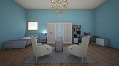 Grey bedroom office - Modern - Bedroom  - by yipperyapper
