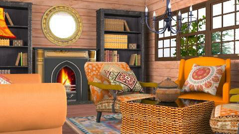 wood home - Rustic - Living room  - by chania