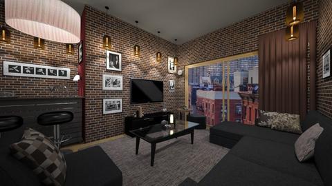 brick bar living room - Living room - by ilikalle
