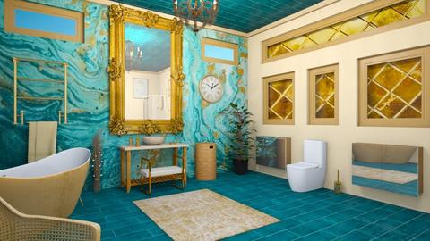 turquoise and gold - Bathroom - by zayneb_17