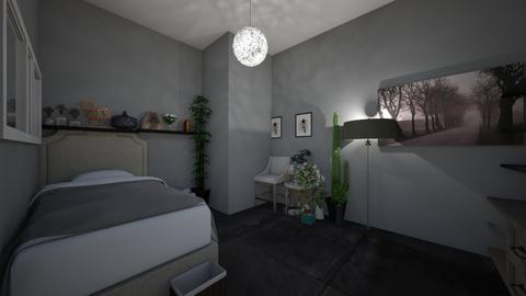 plant friendly grey room - Bedroom  - by toyjuliette2008