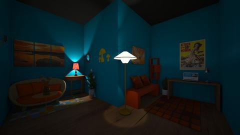 Orange red and aqua - Living room  - by OliverTheWizard