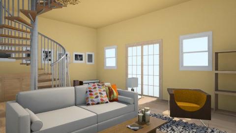 Orange Living room - Living room - by kitten lover