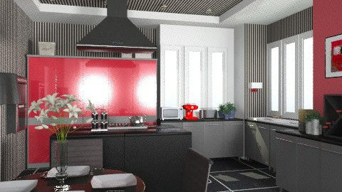 modern kitchen with stripes. - Modern - Kitchen  - by KittiFarkas