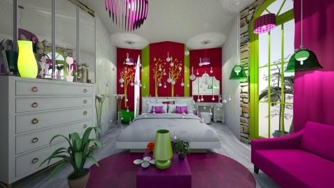 Purple and Green - Glamour - Bedroom  - by Huwish