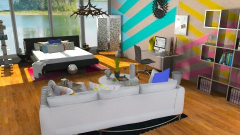 Striped up walls Bedroom - Eclectic - Bedroom  - by idesine