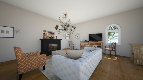 White With Subtle Orange - Rustic - Living room  - by minion1432