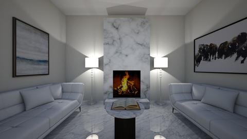white and marble lounge - Living room  - by OferneH