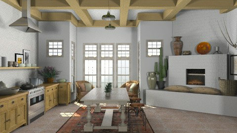 Random Spaces - Santa Fe Kitchen2 - Rustic - Kitchen  - by LizyD