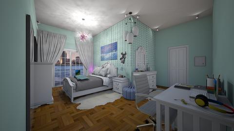 BeachOceanSeaTealBedroom - Feminine - Bedroom  - by jade1111