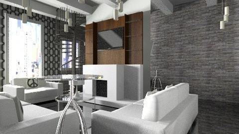 BlacknWhite APT - Minimal - Living room  - by SaraxDGoesRoarr