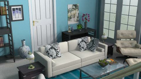 blue living2 - Classic - Living room - by Bibiche