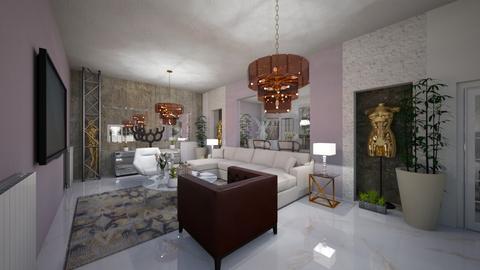 Living_Dinning _Modern_2_Interiors_ - Living room - by Nikos Tsokos