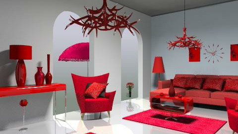 red - Retro - Living room  - by trees designs