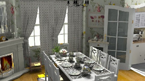 Dinner for 8 - Country - Dining room  - by Bibiche
