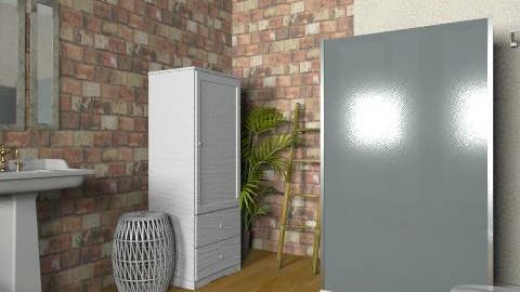 Manhattan Duplex: Downstairs Bath - Rustic - Bathroom  - by reedj0218