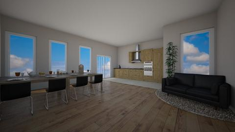 Flat Living Room Kitchen - Minimal - Living room  - by Mazzz02